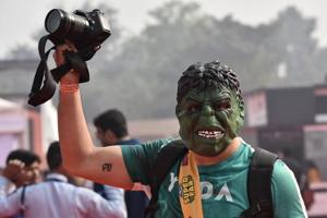 Cosplayers pose during the Delhi Comic Con at NSIC Okhla Ground in New Delhi, India on Friday.