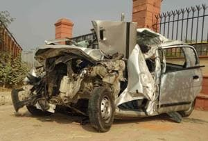 The car that the victims were travelling in was mangled with the impact of the collision.