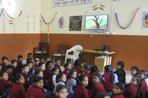 Students taking lessons through smart classrooms at Government Primary School, Gobind Nagar, Ludhiana.