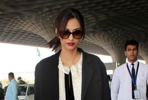 Sonam Kapoor rocks a long jacket with a floor length dress.