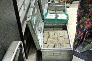 The cash recovered by the income-tax department from a bank locker in Pune on Wednesday.
