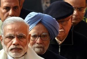 The iconic photo of PM Narendra Modi, former PM Manmohan Singh and BJP leader L K Advani goes viral.