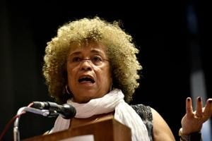 Author Angela Davis delivers the eighth Anuradha Ghandy Memorial Lecture at KC College in Mumbai on Friday.