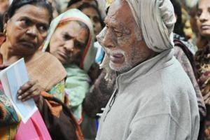 A retired army man, Nandlal, broke down in tears outside the State...
