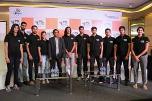 Rio Olympic silver medallist PV Sindhu and other shuttlers at the press conference for the PBL Season 2 in Hyderabad.