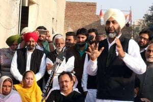 Congress leader Manpreet Singh Badal addressing a gathering during a party meeting in Bathinda on Sunday.