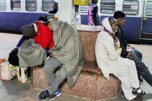 Passengers stranded at a railway station in Allahabad.