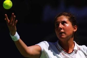 Monica Seles of the USA in action against Iva Majoli of Croatia in the quarterfinals of the Australian Open at Flinders Park in Melbourne in January 1996.