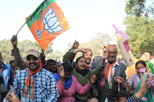 BJPworkers cheer up as the party sweeps Chandigarh Municipal Corporation polls