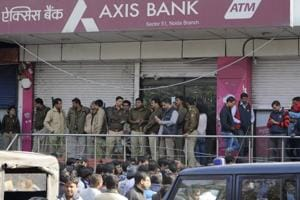 The income tax department raided an Axis Bank branch in Sector 51 on Thursday.