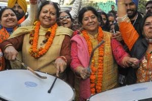 BJP women candidate in a jubilant mood after winning the MC election on Tuesday.