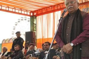Haryana chief minister Manohar Lal Khattar speaking at BJP's event in Chandigarh on Friday.