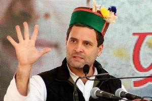Congress vice president Rahul Gandhi addressing a rally at Dharamsala on Saturday, Dec 24, 2016.