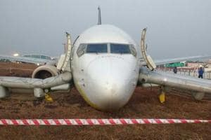 Cellphone shots taken by airport staff showed that the aircraft's landing gear had completely collapsed as it sat on its fuselage (body), stuck in the mud.