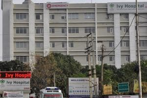 The IVY Hospital building at Mansa Devi Complex, Sector 5, in Panchkula.