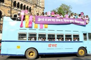 Akshara campaigning for women's safety in buses in 2013.