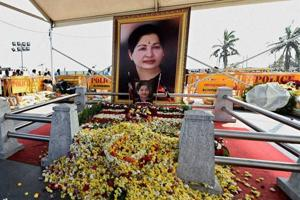 The spot where AIADMK chief Jayalalithaa was laid to rest, adjacent to the MGR Memorial in Chennai.