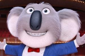The animated musical with 85 songs is set in an anthropomorphic world where a koala (voiced by Matthew McConaughey) tries to save his theatre from going into the hands of the bank by starting a singing competition.