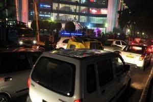 A traffic jam near the Elante Mall on Thursday.
