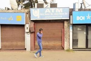 The closed ATMs of Bank of India, Punjab National Bank and Canara Bank at Railway Station on Wednesday.