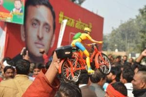 Supporters near Samajwadi party office in Lucknow on Saturday.