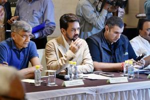 BCCI president Anurag Thakur along with other members during the meeting to discuss their latest stance on the Supreme Court-appointed Lodha panel