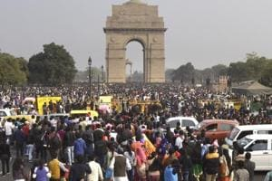 People gather at India Gate on the first day of 2017.