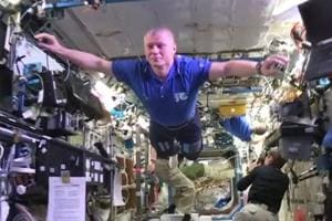 Astronauts aboard the International Space Station (ISS) joined in on...