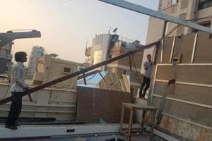 BMC officials reached actor Arjun Kapoor's residence on Thursday where his staff was dismantling gym equipment and thereafter, demolished the structure.