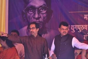 Sena chief Uddhav Thackeray and CM Devendra Fadnavis at the BMC headquarters on Monday.