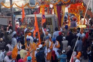 Residents of Refugee Colony take out a procession to celebrate naming of their colony as Guru Govind Singh Nagar.