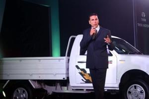 "Actor Akshay Kumar launches Tata Motors new ""Pick-up truck - Xenon Yodha"" in Mumbai on Tuesday."