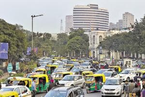 Traffic jam at inner circle of Connaught Place in New Delhi.