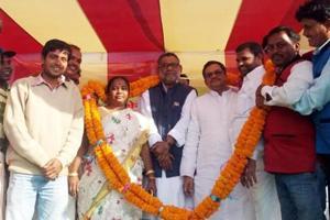 Trinamool leaders at Dhusra rally in East Singhbhum district on Saturday.