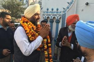 Congress candidate Manpreet Singh Badal during the election campaign in Bathinda on Saturday..