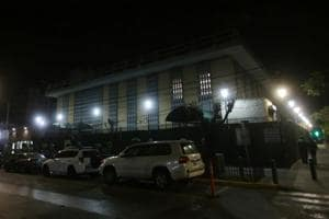 A view shows the facade of the US Consulate General in Guadalajara, Mexico.