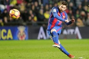 Lionel Messi shoots to score for Barcelona vs Villarreal in a La Liga match on Sunday. Messi has scored some of the best goals from freekicks. He is in contention for the Fifa best player award for 2016