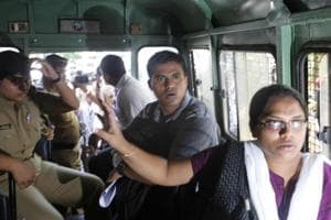 Sheetal Sathe and Sachin Mali from Kabir Kala Manch surrender to police outside Vidhan Bhavan in Mumbai in 2013.