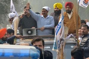Aam Aadmi Party leader  and Delhi Chief Minister  Arvind Kejriwal during a roadshow near the village Boparai, about 25 kms from Amritsar.  For the rookie party, it's a make-or-break election after it pulled off a stunner in 2014 polls, picking all of its four Lok Sabha seats from Punjab and garnering a 25 per cent vote share.