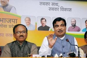 Union minister and senior BJP leader Nitin Gadkari with Goa Chief Minister Lakshmikant Parsekar and AYUSH minister Shripad Yesso Naik addressing a press conference in Panaji, Goa on Thursday.