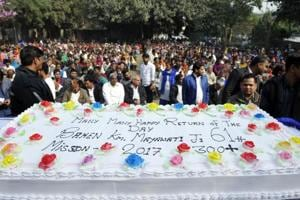 A cake, weighing 61kg and inscribed with Mission 2017: 300+, to secure more than 300 seats in the upcoming assembly elections, was also dedicated to the party leader.