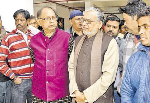 Senior BJP leader Sushil Kumar Modi with others at a media interface in Patna.