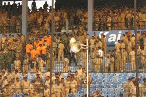 Police inspect the Barabati Stadium in Cuttack ahead of Thursday's India-England second ODI.