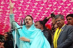 Union minister for food processing industries Harsimrat Kaur Badal during an election campaign for Bathinda Urban candidate Saroop Chand Singla in Bathinda on Tuesday.