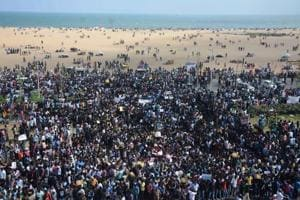 Bulldozed! Thousands take over Marina Beach for protest 'to save...