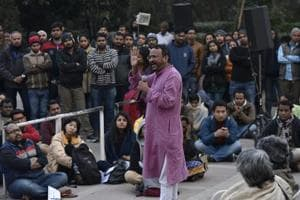 Bezwada Wilson speaks during a lecture series at JNU Campus in New Delhi on Wednesday.