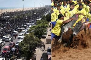 Crowds continue to swell in Chennai as thousands are joining the...