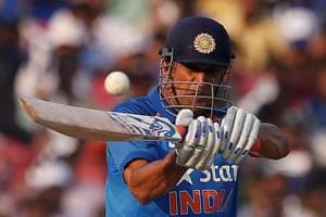 Mahendra Singh Dhoni on way to his 10th One-day International century, in the second India vs England ODI in Cuttack on Thursday.