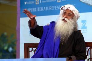 Spiritual leader Sadhguru speaks during the session Inner Engineering: A Yogi