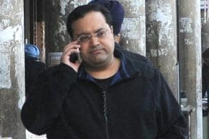 Jessica Lal murder convict manu Sharma at the UT registrar's office.